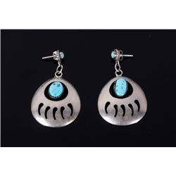 Navajo Sterling & Turquoise Bear Claw Earrings
