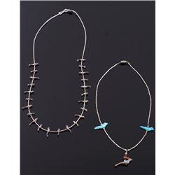 Two Navajo Native American Bird Fetish Necklaces