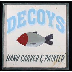 Hand Painted Fishing Decoy Advertising Sign