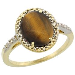 Natural 2.32 ctw Tiger-eye & Diamond Engagement Ring 14K Yellow Gold - REF-32A4V