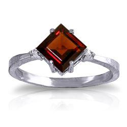 Genuine 1.77 ctw Garnet & Diamond Ring Jewelry 14KT White Gold - REF-28R8P