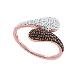 0.25 CTW Red Color Diamond Bypass Cluster Ring 10KT Rose Gold - REF-28M4H