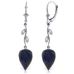 Genuine 25.72 ctw Sapphire & Diamond Earrings Jewelry 14KT White Gold - REF-53A4K