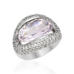 8.65 CTW Amethyst & Diamond Ring 18K White Gold - REF-118N2Y
