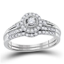 0.33 CTW Diamond Halo Bridal Engagement Ring 10KT White Gold - REF-37X5Y
