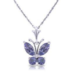 Genuine 0.60 ctw Tanzanite Necklace Jewelry 14KT White Gold - REF-27X5M