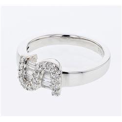 0.38 CTW Diamond Ring 18K White Gold - REF-63W5H