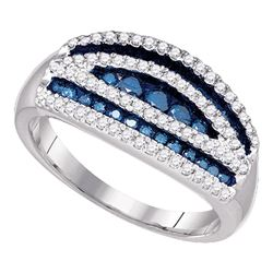 0.70 CTW Blue Color Diamond Cocktail Ring 10KT White Gold - REF-44N9F