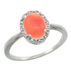 Natural 1.17 ctw Coral & Diamond Engagement Ring 10K White Gold - REF-19K9R
