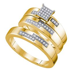0.15 CTW His & Hers Diamond Cluster Matching Bridal Ring 10KT Yellow Gold - REF-44Y9X
