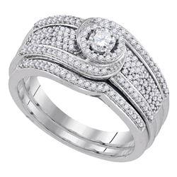 0.50 CTW Diamond Swirl Bridal Engagement Ring 10KT White Gold - REF-67Y4X