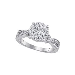 0.28 CTW Diamond Circle Cluster Ring 10KT White Gold - REF-26Y9X