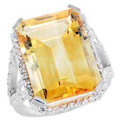 Natural 13.72 ctw Citrine & Diamond Engagement Ring 14K White Gold - REF-81A3V