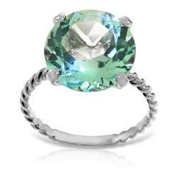 Genuine 8 ctw Blue Topaz Ring Jewelry 14KT White Gold - REF-39K6V