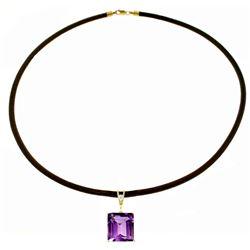 Genuine 6.51 ctw Amethyst & Diamond Necklace Jewelry 14KT White Gold - REF-31H6X