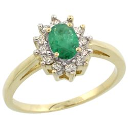 Natural 0.72 ctw Emerald & Diamond Engagement Ring 14K Yellow Gold - REF-49R7Z