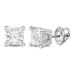 0.98 CTW Princess Diamond Solitaire Stud Earrings 14KT White Gold - REF-202X5Y