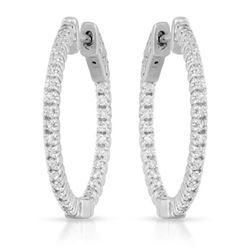 0.66 CTW Diamond Earrings 14K White Gold - REF-80M7F
