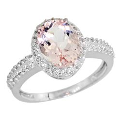 Natural 1.86 ctw Morganite & Diamond Engagement Ring 14K White Gold - REF-50X3A