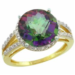 Natural 5.34 ctw Mystic-topaz & Diamond Engagement Ring 14K Yellow Gold - REF-45X5A