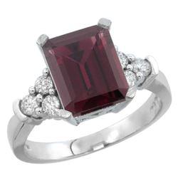 Natural 2.86 ctw rhodolite & Diamond Engagement Ring 14K White Gold - REF-65V2F