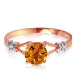 Genuine 1.02 ctw Citrine & Diamond Ring Jewelry 14KT Rose Gold - REF-28T3A