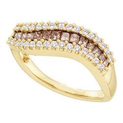 0.65 CTW Princess Cognac-brown Color Diamond Ring 14KT Yellow Gold - REF-59M9H