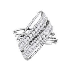 2.48 CTW Diamond Crossover Open Strand Cocktail Ring 14KT White Gold - REF-232W4K
