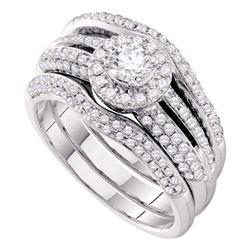 1 CTW Diamond Halo Bridal Engagement Ring 14KT White Gold - REF-157W5K