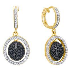 0.75 CTW Black Color Diamond Oval Dangle Earrings 10KT Yellow Gold - REF-44K9W