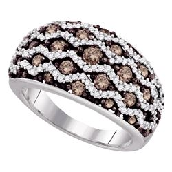 1.23 CTW Brown Color Diamond Fashion Ring 10KT White Gold - REF-75W2K