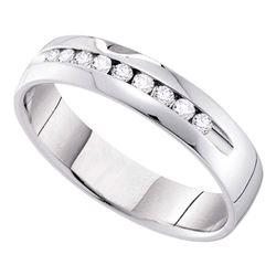 0.50 CTW Diamond Smooth Comfort-fit Wedding Anniversary Ring 14k White Gold - REF-78K8W