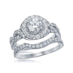 2 CTW Diamond Bridal Wedding Engagement Ring 14KT White Gold - REF-375Y2X