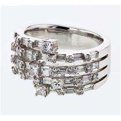 1.4 CTW Diamond Ring 18K White Gold - REF-174M2F