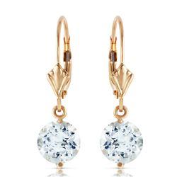 Genuine 3.1 ctw Aquamarine Earrings Jewelry 14KT Yellow Gold - REF-42N9R