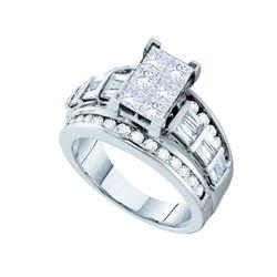 3 CTW Princess Diamond Cluster Bridal Engagement Ring 14KT White Gold - REF-420W2K