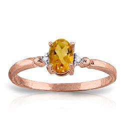 Genuine 0.46 ctw Citrine & Diamond Ring Jewelry 14KT Rose Gold - REF-27M3T