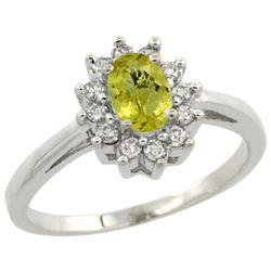 Natural 0.67 ctw Lemon-quartz & Diamond Engagement Ring 14K White Gold - REF-48V2F