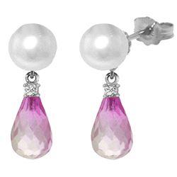 Genuine 6.6 ctw Pink Topaz & Diamond Earrings Jewelry 14KT White Gold - REF-27A6K