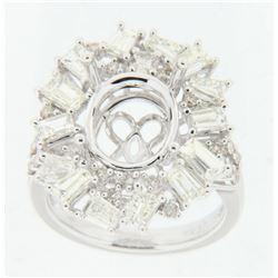 2.6 CTW Diamond Semi Mount Ring 14K White Gold - REF-249M8F
