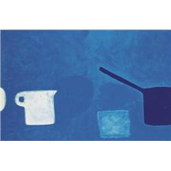 William Scott OBE RA (1913-1989) CUP AND PAN BLUE