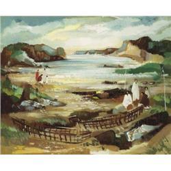 George Campbell RHA (1917-1979) CURRACHS, IRISH C
