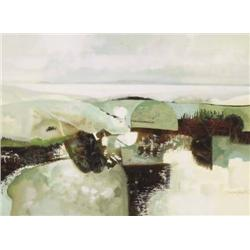 George Campbell RHA (1917-1979) GREEN LANDSCAPE,