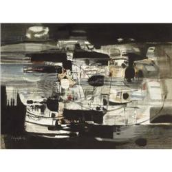 George Campbell RHA (1917-1979) FISHING HARBOUR,