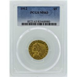 1912 $5 Indian Head Half Eagle Gold Coin PCGS MS63