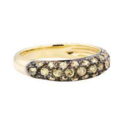 1.00 ctw Greenish Yellow Sapphire Ring - 18KT Yellow Gold
