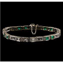 1.30 ctw Emerald and Diamond Bracelet - 18KT White Gold