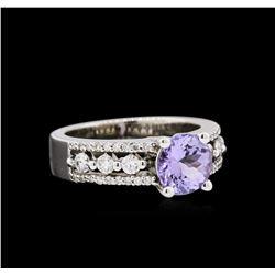 1.38 ctw Tanzanite and Diamond Ring - 14KT White Gold