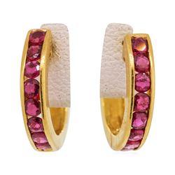18KT Yellow Gold 1.08 ctw Ruby Earrings