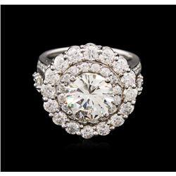 GIA Cert 5.50 ctw Diamond Ring - 14KT White Gold